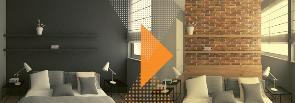 Kup sobie chatę. Projekt sypialni, wizualizacja, dwa warianty.