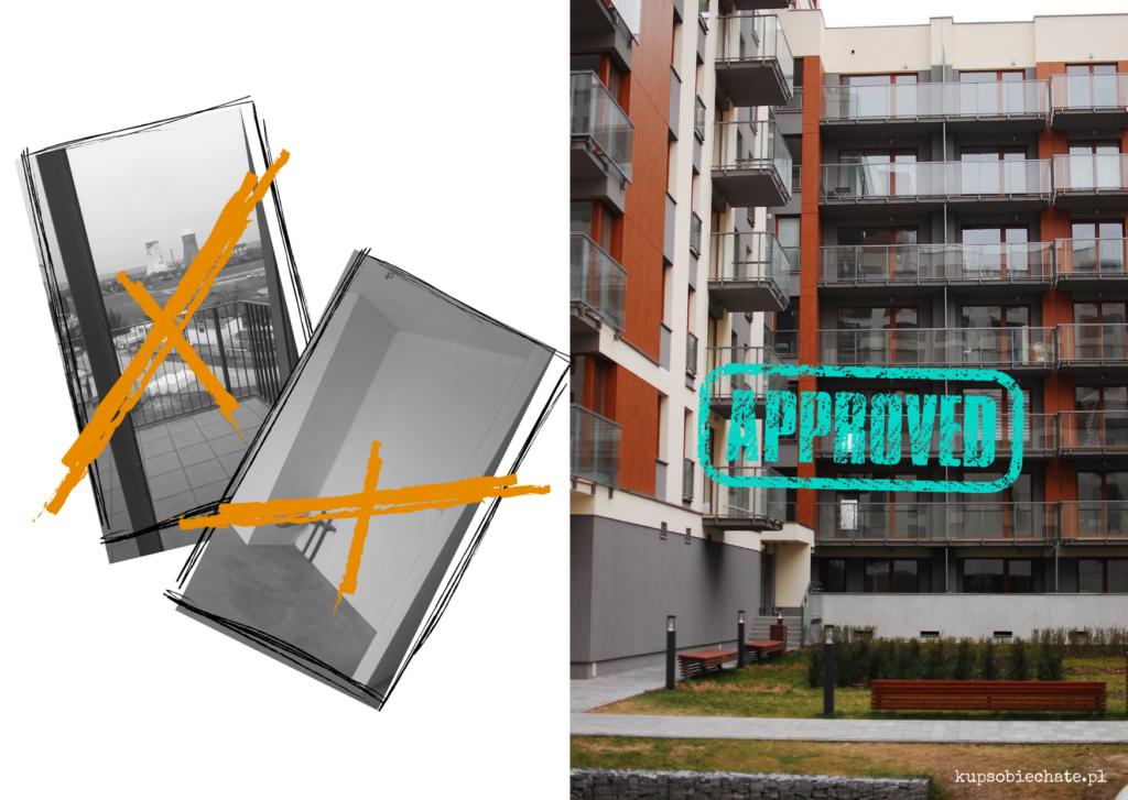 dwa przekreslone zdjecia mieszkan w stanie surowym i trzecie z napisem approved