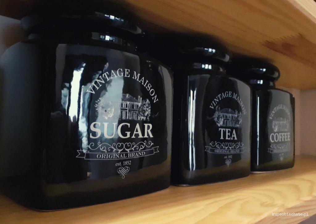 spizarnia sloje czarne dekoracyjne przechowywanie cukier maka