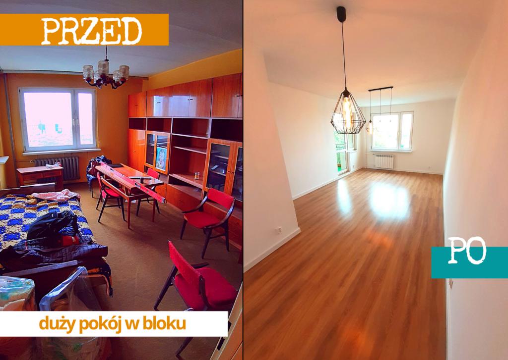 kup sobie chate remont mieszkania w bloku wielka plyta duzy pokoj salon metamorfoza przed i po